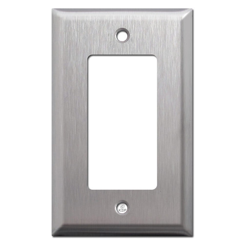 Deep Bevel Edge GFI Decora Rocker Switch Plate - Satin Stainless Steel