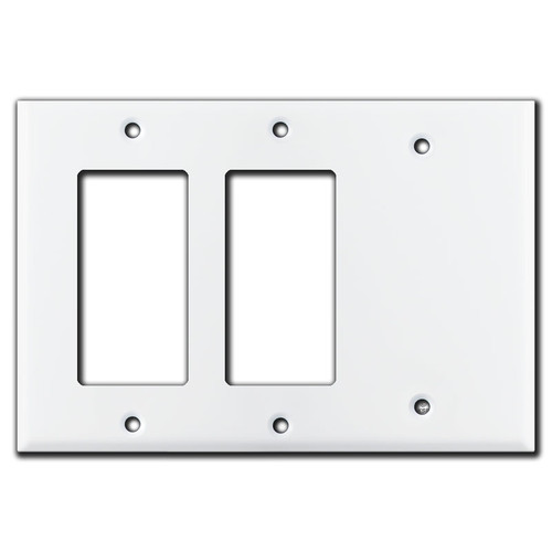 2 GFCI Decora Rocker & 1 Partial Blank Combo Switch Plates - White