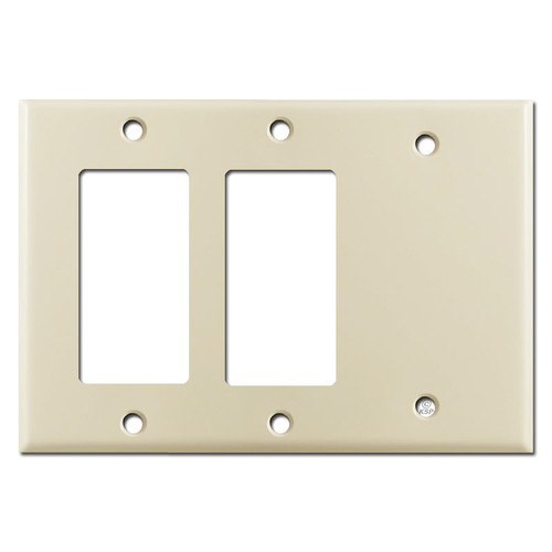 2 GFI Decora Rocker Switch & 1 Blank Combination Wall Plates - Ivory