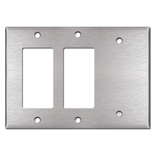 2 GFCI Decora Rocker & 1 Blank Combo Switch Plates - Stainless Steel