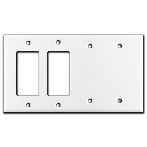 2 Blank & 2 GFCI Decora Rocker Switch Wall Plate - White