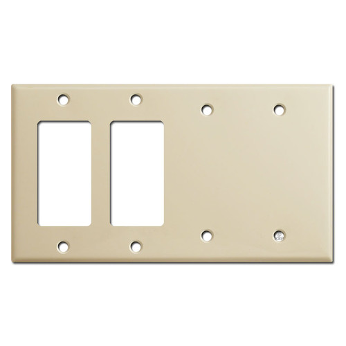 2 GFCI Decora Rocker & 2 Blank Switch Wallplate - Ivory