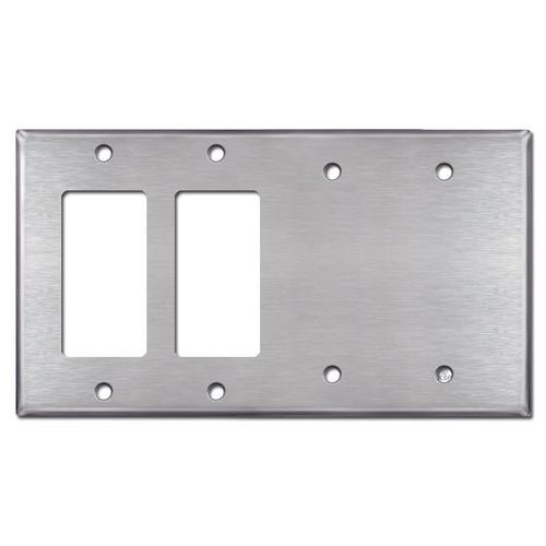 2 GFI Decora Rocker & 2 Blank Switch Plates - Satin Stainless Steel