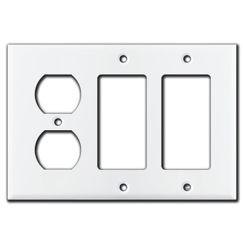 1 Duplex Outlet & 2 GFCI Decora Rocker Combo Switch Plates - White