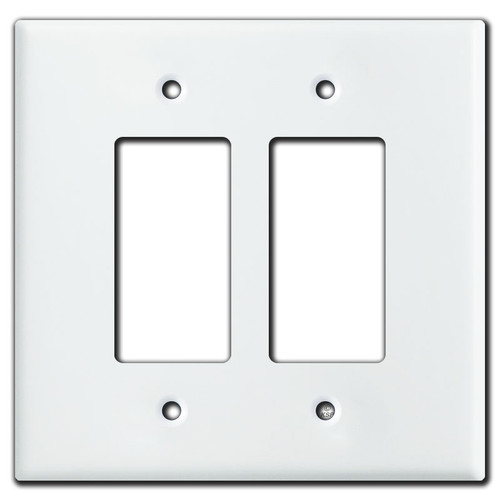 Oversized 2 Decora Rocker Switch Light Plate Covers - White