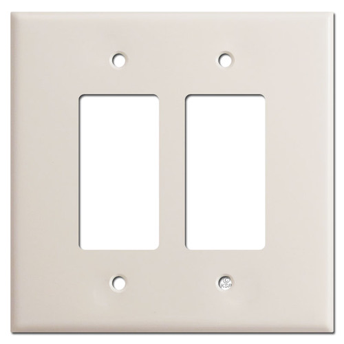 Oversized Double Rocker Wallplate for 2 Decora Switches - Light Almond