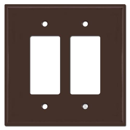 Oversized 2 Decora Rocker Light Switch Plates - Brown