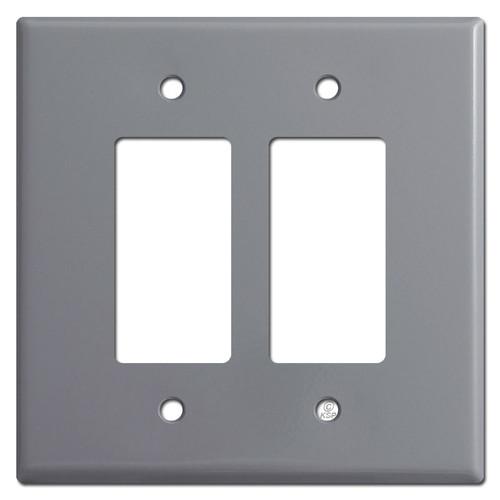 Oversized 2 Decora Rocker Switch Plate Cover - Gray