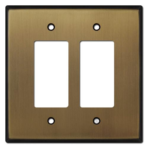 Oversized 2 Decora Rocker Switch Wallplates - Antique Brass