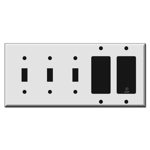3 Toggle 2 Rocker Switch Plate