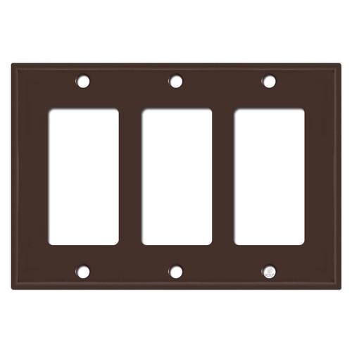 3 GFI Decora Rocker Switch Wall Plate Covers - Brown