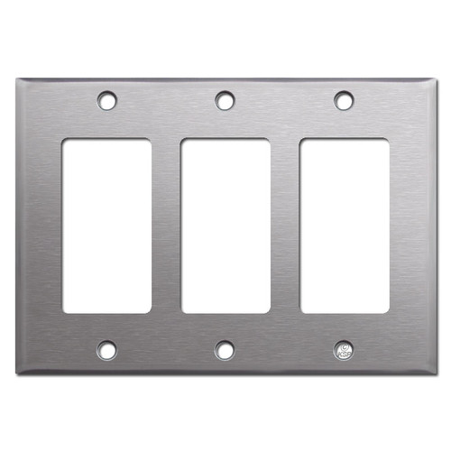 Stainless Steel 3 Gang GFCI Decora Rocker Switchplate