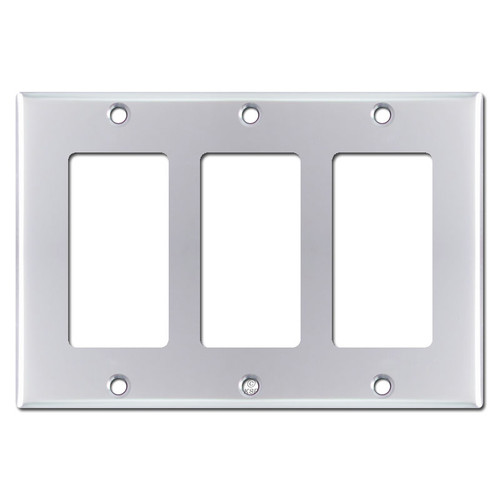 Triple GFCI Decora Rocker Switchplate - Polished Chrome