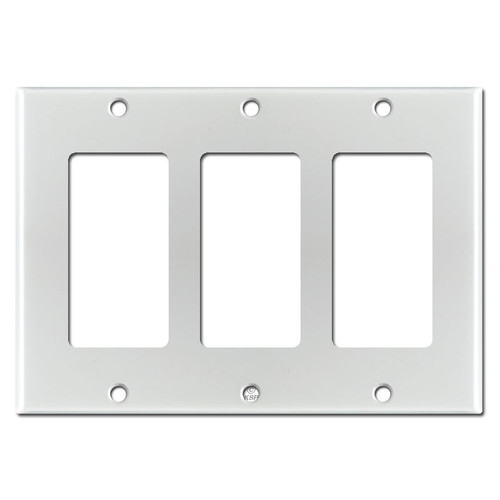 3 GFI Decora Rocker Switch Plate Cover - Brushed Aluminum