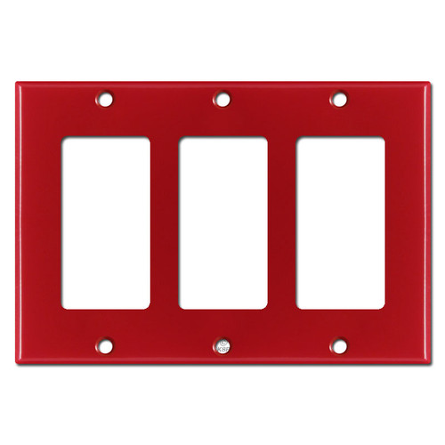 3 GFCI Decora Rocker Switch Plate Covers - Red