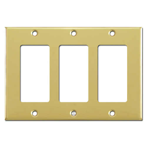 3 Decora Rocker Light Switch Plate Covers - Polished Brass