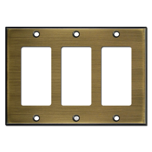 3 Decora Rocker GFI Switch Plates - Antique Brass