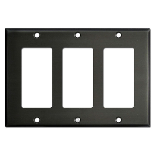 3 Rocker GFI Decora Switch Plate Covers - Dark Bronze