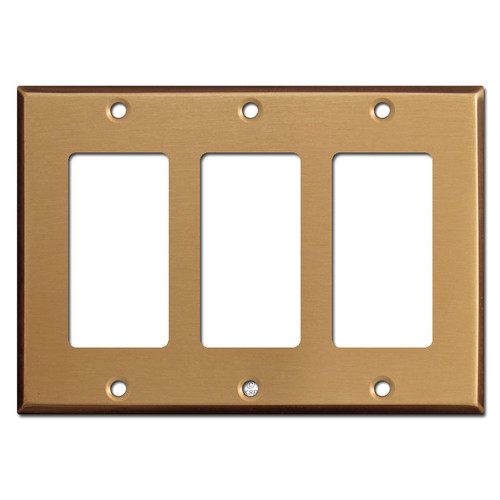 3 Decora Rocker Switch Wall Plate Covers - Satin Bronze