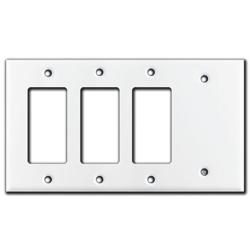 3 Decora Rocker & 1 Blank Switch Wall Plate Covers - White
