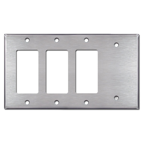 3 Decora Rocker Switch & 1 Blank Wall Plates - Satin Stainless Steel