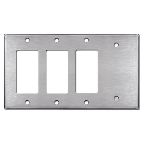 3 Decora Rocker Switch & 1 Blank Wall Plates - Satin Stainless Steel
