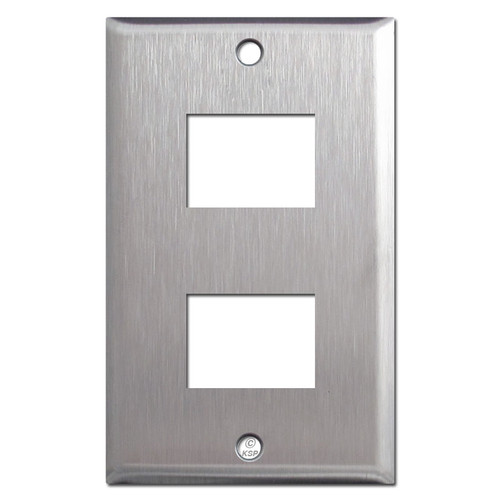Old GE RCS Low Voltage 2 Switch Wallplate - Type 302 Stainless Steel