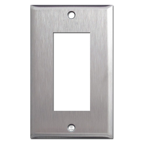 Older GE RCS Low Voltage 3 Switch Plate - Spec Grade Stainless Steel
