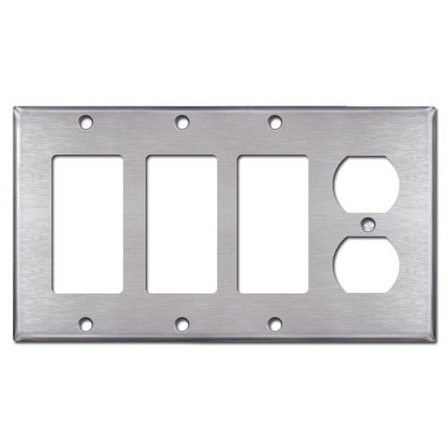 3 Decora Rocker 1 Outlet Cover Wall Switch Plate - Stainless Steel