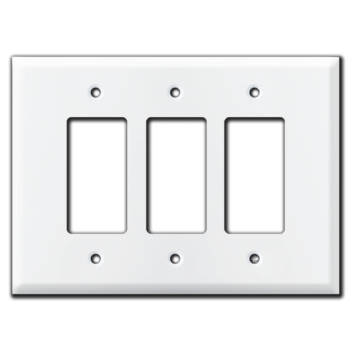 Oversized Triple Gang 3 Decora Rocker Switch Plates - White
