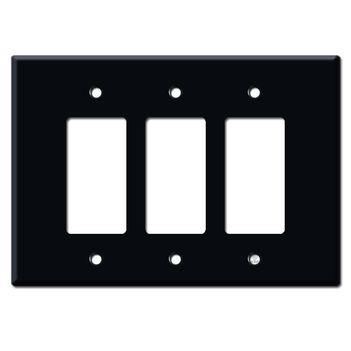 Oversized Three Gang Decora Rocker Switch Plates - Black