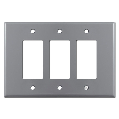 Oversized 3 Gang Triple Decora Rocker GFCI Switch Plates - Gray