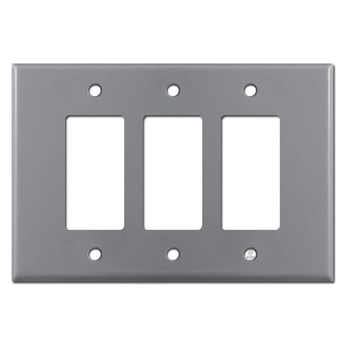 Oversized 3 Gang Triple Decora Rocker GFCI Switch Plates - Gray