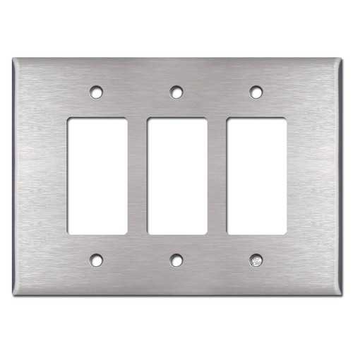 Oversized 3 Decora Rocker Switch Plates - Satin Stainless Steel