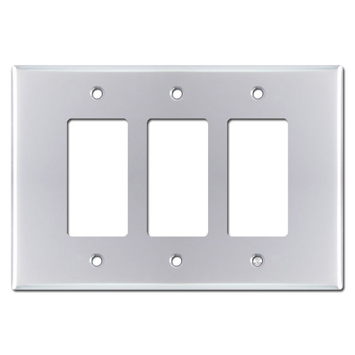 Oversized 3 Decora Rocker GFCI Switch Plates - Polished Chrome