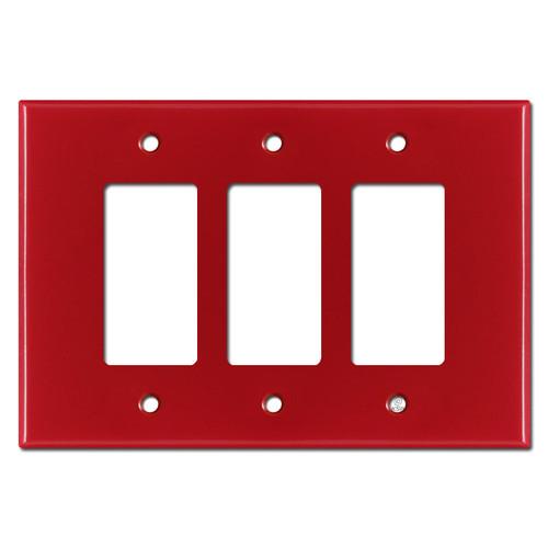 Oversized Triple Gang 3 Decora Rocker Jumbo Switch Plate - Red