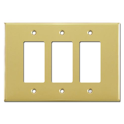 Oversized Triple Gang 3 Decora Rocker Switch Plate - Polished Brass