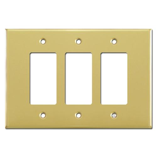 Oversized Triple Gang 3 Decora Rocker Switch Plate - Polished Brass