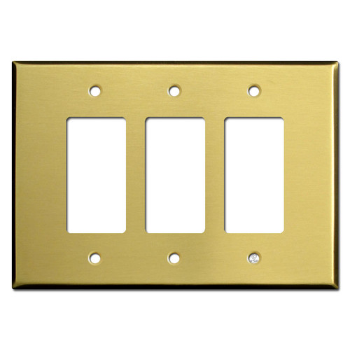 Oversized 3 GFI Decora Rocker Switch Wall Plate - Satin Brass
