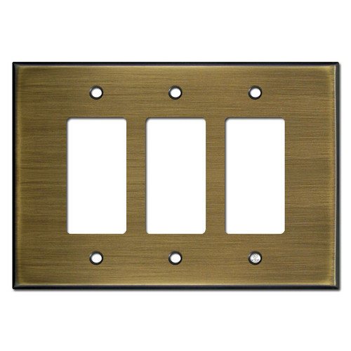 Oversized 3 Decora Rocker Light Switch Wall Plate - Antique Brass
