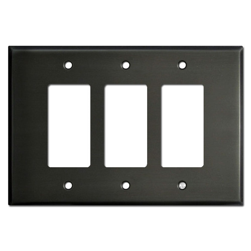 Oversized Three-Gang 3 Decora Rocker Switch Plates - Dark Bronze