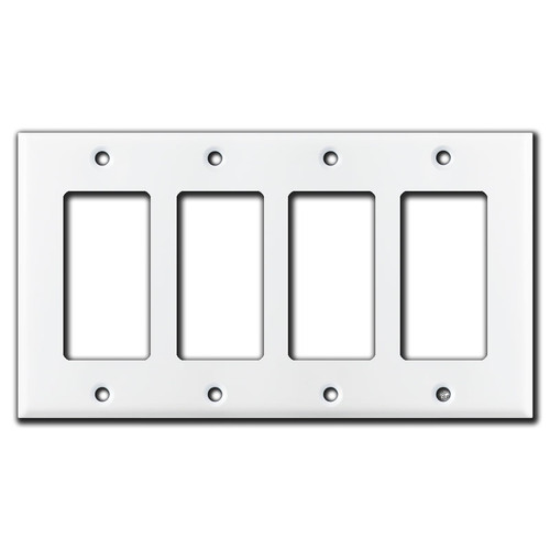4 Rocker Switch Plate - White