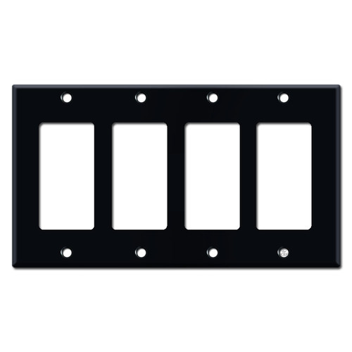 4 Decora Rocker Switch Wall Plates - Black
