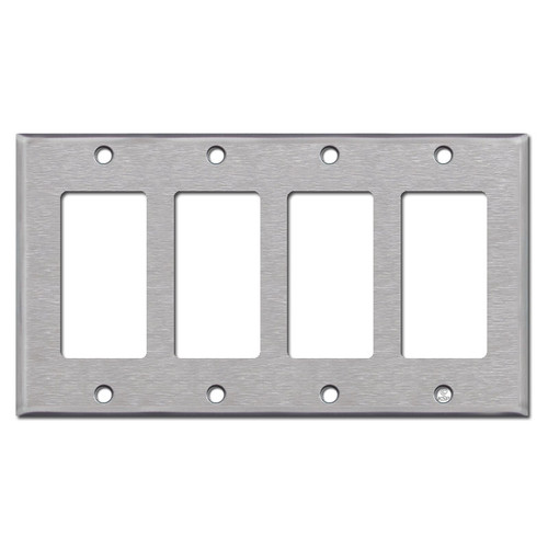 4 Gang GFCI Decora Rocker Switch Plate - Stainless Steel