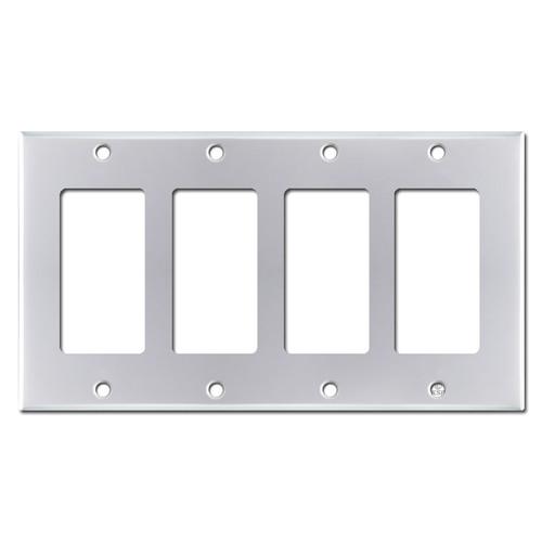 4 GFI Rocker Light Switchplate Covers - Polished Chrome
