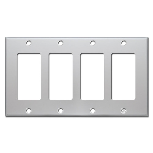 4 GFI Outlet or Rocker Switch Plate Covers - Brushed Aluminum