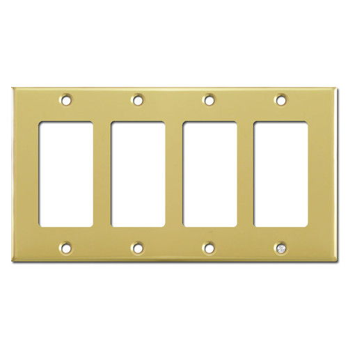 4 Rocker Switch Plates - Polished Brass