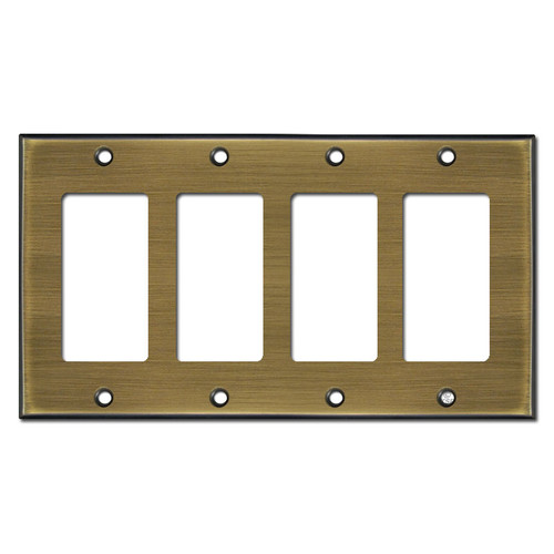 4 Decora Rocker Switch Plate Covers - Antique Brass