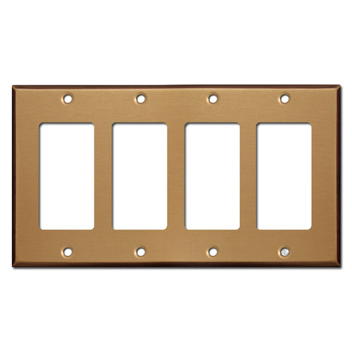 4 GFCI Rocker Light Switchplates - Satin Bronze