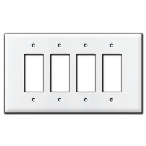 Oversized 4 GFCI Decora Rocker Switch Plate Cover - White